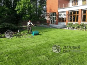 На фото: уплотнение грунта с помощью садового катка